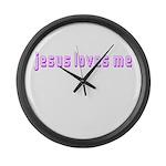 Magenta Jesus Loves Me Giant Clock