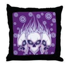 Blazing Purple Skulls Throw Pillow