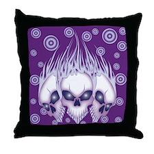 Blazing Purple Skulls Throw Pillow