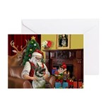 Santa/Norwegian Elkhound Greeting Cards (Pk of 10)