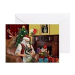 Santa/Norwegian Elkhound Greeting Cards (Pk of 20)