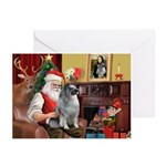 Santa/Keeshond Greeting Cards (Pk of 10)