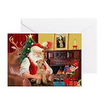 Santa/Lakeland Terrier Greeting Cards (Pk of 10)