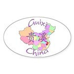 Guixi China Map Oval Sticker (10 pk)