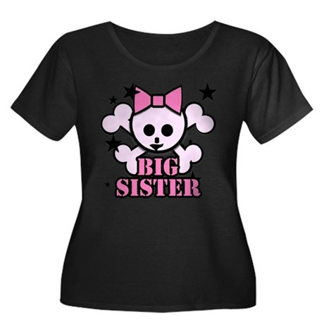 Pink bow skull big sister Women's Plus Size Scoop