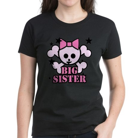 Pink bow skull big sister Women's Dark T-Shirt