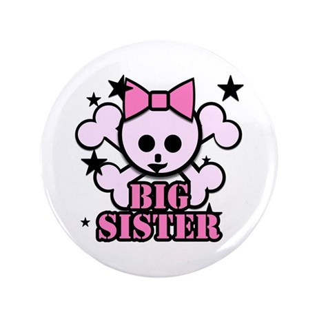 "Pink bow skull big sister 3.5"" Button"