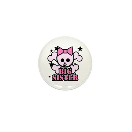 Pink bow skull big sister Mini Button
