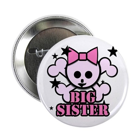 "Pink bow skull big sister 2.25"" Button"