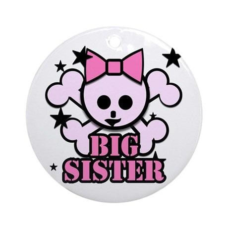 Pink bow skull big sister Ornament (Round)