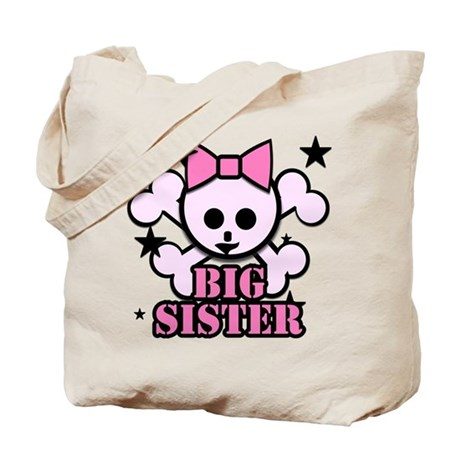 Pink bow skull big sister Tote Bag