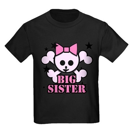 Pink bow skull big sister Kids Dark T-Shirt