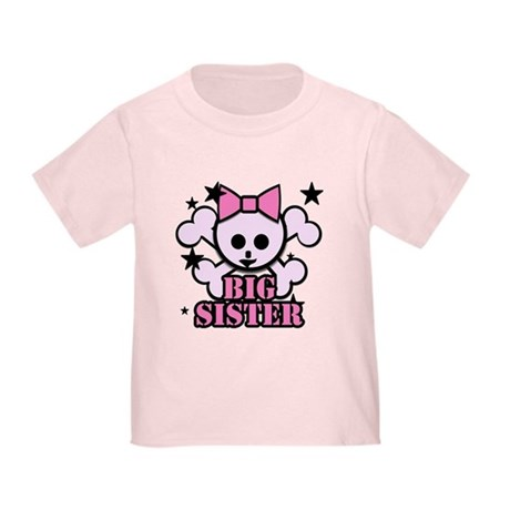 Pink bow skull big sister Toddler T-Shirt