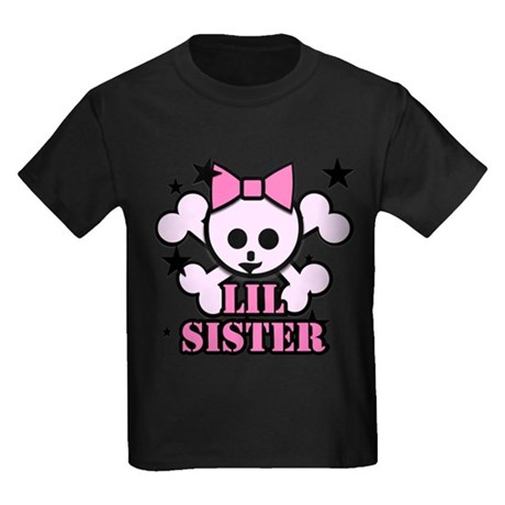 pink bow skull little sister Kids Dark T-Shirt