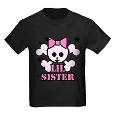 pink bow skull little sister T