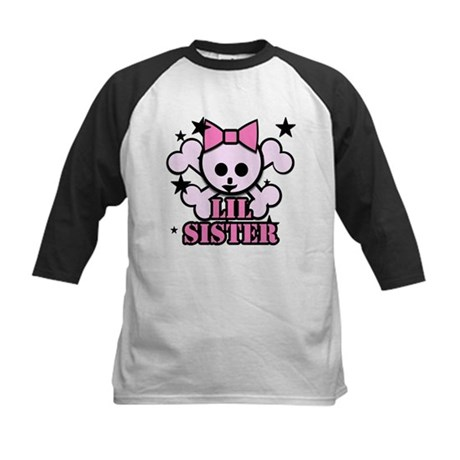pink bow skull little sister Kids Baseball Jersey