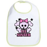 pink bow skull little sister Bib