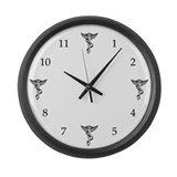 4 Chiropractic Caducei Large Wall Clock