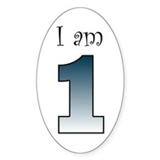 I am 1 (navy blue) Oval Decal