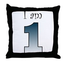 I am 1 (navy blue) Throw Pillow