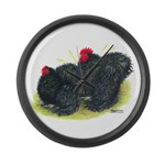 Black Frizzle Cochins2 Giant Clock