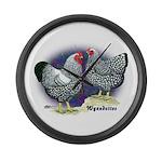 Silver Wyandotte Chickens Giant Clock