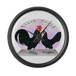 Black Dutch Chickens Giant Clock