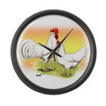 White Leghorn Chickens Giant Clock