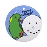 Snowman Yellow Naped Amazon Christmas Ornament