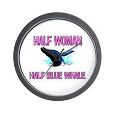 Half Woman Half Blue Whale Wall Clock