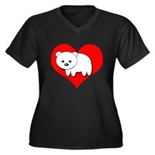 Polar Bear Women's Plus Size V-Neck Dark T-Shirt