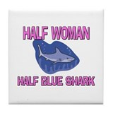 Half Woman Half Blue Shark Tile Coaster