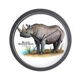 Black Rhinoceros Wall Clock