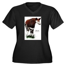 Okapi Women's Plus Size V-Neck Dark T-Shirt