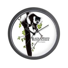 Black & White Ruffed Lemur Wall Clock