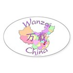 Wanzai China Map Oval Sticker (10 pk)