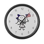 Girl & Democrat Large Wall Clock