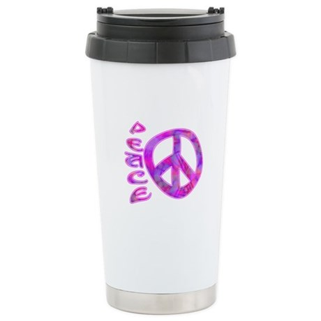 Pink Peace Ceramic Travel Mug
