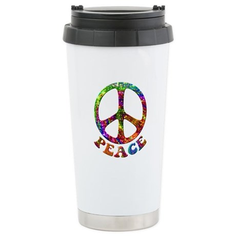 Jewelled Peace Symbol Ceramic Travel Mug