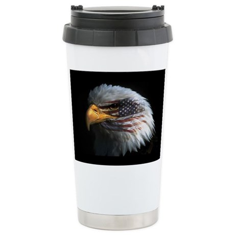 American Flag Eagle Ceramic Travel Mug