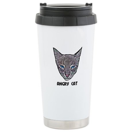 Angry Cat Ceramic Travel Mug