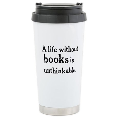 Life Without Books Ceramic Travel Mug