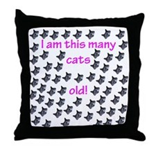 60 Cats Old! Throw Pillow