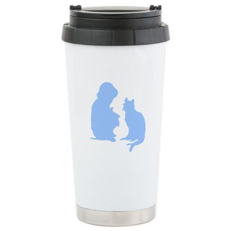 Child and Cat Ceramic Travel Mug