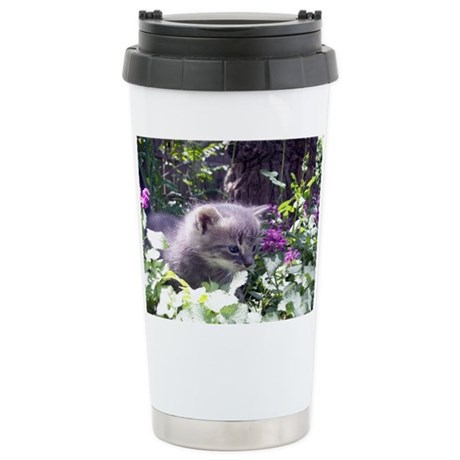 Gray Kitten Ceramic Travel Mug