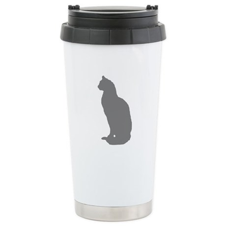 Grey Cat Ceramic Travel Mug