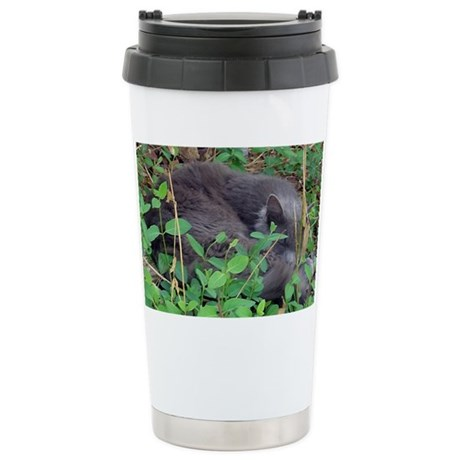 Kitten in Honeysuckle Ceramic Travel Mug