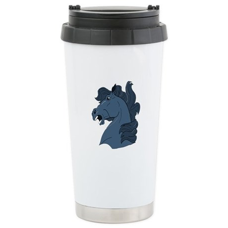 Blue Horse Ceramic Travel Mug