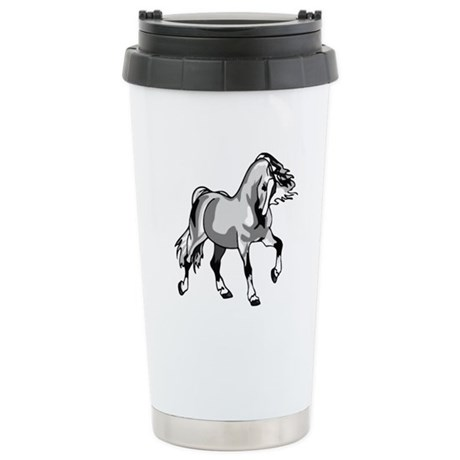 Spirited Horse White Ceramic Travel Mug
