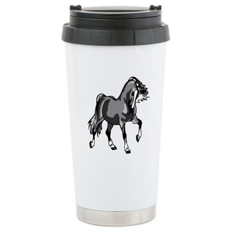 Spirited Horse Gray Ceramic Travel Mug
